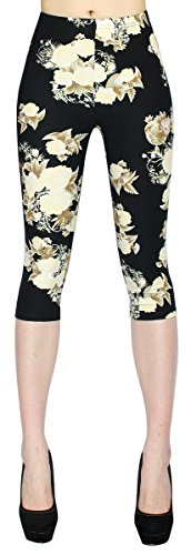 Damen Capri 3/4 Leggings in Blumen Muster Damen Kurze Leggings Flower Print in One Size Gr. 36-42 - CLG009 (Capri Print Leggings)