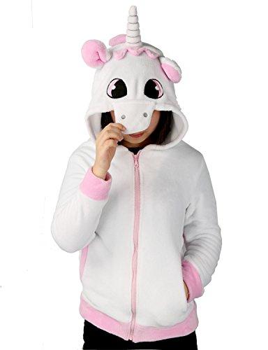Einhorn Kostüm Jacke Kapuzenpullover Pyjama Sweatshirt Tieroutfit Hoodies Reißverschluss mit Kapuze Tier Cosplay Halloween - Très Chic Mailanda (S, Pink 2)