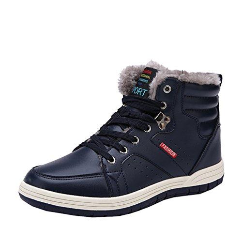 AFFINEST High-top Più velluto Stivali Donna Uomo Tooling Stivali in Vera Pelle Invernali scarpe sneakers?blu,43)