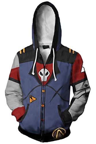 Cosplay Borderlands Kostüm - MingoTor Herren Damen Borderlands Kapuzenjacke 3D Pullover mit Kapuze Sweatjacke Hoodie Cosplay Kostüm Unisex Blau XL
