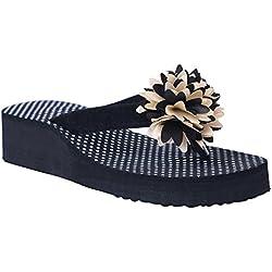 HD Casual Rubber Flip-Flop Slippers For Women (Black) (FBA HEEL_PHOOL_BLACK41)