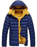 Emmay Giacche da Uomo Calde con Cappuccio da Invernali Essenziale Giacche Uomo Ntel Trapuntate Warm Warm-Up Jacket Parka (Color : Dunkelblau, Size : L)