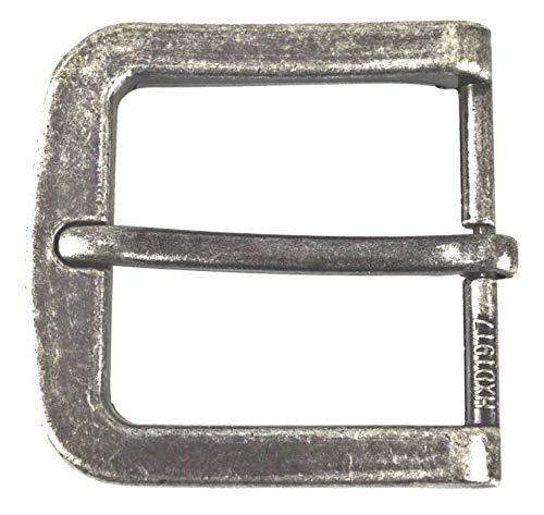 Herren Silber Gürtelschnalle (flevado Gürtelschnalle Vintage antik Buckle 40 mm Metall Dornschließe für Gürtel mit 4 cm Breite M 4)