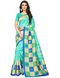Best Collection Women`s Light Green Color Bhagalpuri Cotton Saree With Blouse