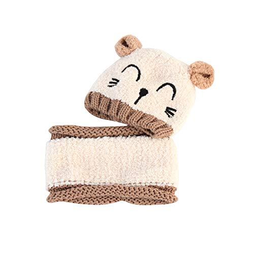 Warooma 2-teiliges Baby Strickmütze und Schal für Neugeborene, warm, weich, für den Winter, gestrickt, Baumwolle, süße Cartoon-Katzenmütze für Kinder, 6-24 Monate, weiß, 50 m