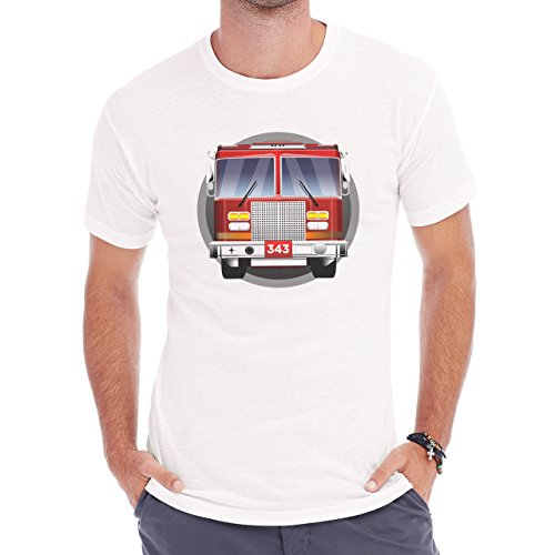 Car Vehicle Four Wheels Auto Fire Truck Logo Herren T-Shirt Weiß