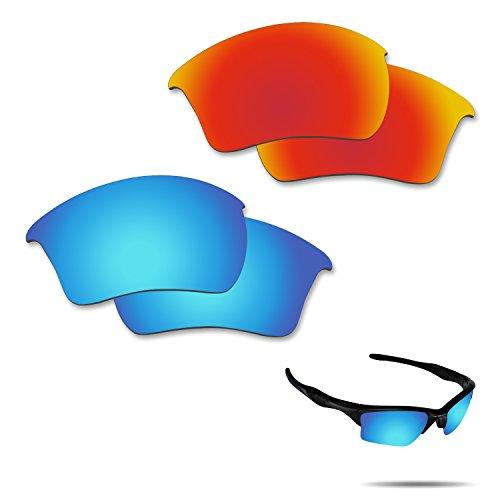 fiskr anti-saltwater Polarisierte Ersatz Gläser für Oakley Half Jacket 2.0XL Sonnenbrille 2Paar verpackt, Fire Red & Ice Blue