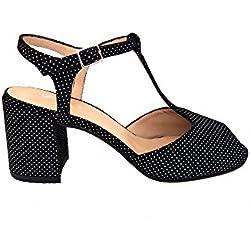 GENNIA India Negro Lunares Blancos - Sandalias para Mujer de Piel Charol y con Tacón Ancho de 6 cm, Talla 38