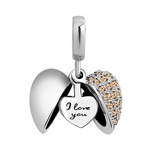 Poetic Charms Herz Love Anhänger Charm 925 Sterling Silber Gelb Geburtsstein Bead für Europäisch Armbänder - Charms Disney Pandora Silber