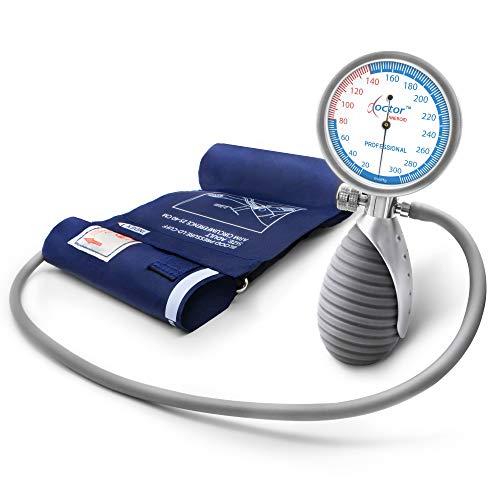 AIESI Sfigmomanometro Manuale Professionale Aneroide modello palmare per adulti DOCTOR ANEROID # Misuratore di pressione meccanico da braccio # Impugnatura orientabile # Garanzia Italia 24 mesi