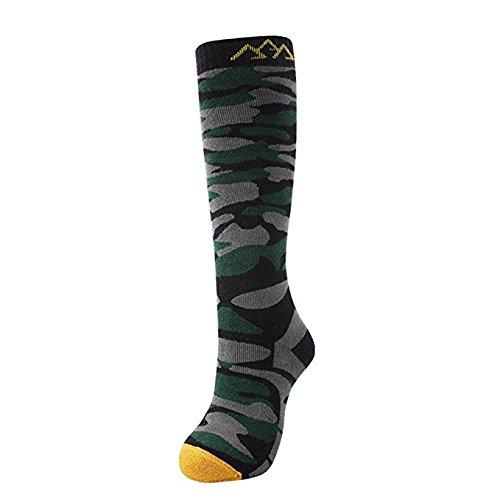 Ski Socken, Männer Kniehohe Camo Muster Socken zum Skifahren, trocken schnell, Warm halten im Wintersport Grün (Socken Camo)