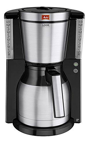 Melitta Look Therm Deluxe Cafetera de Filtro, 1000 W, 1.25 litros, Negro/Acero Inoxidable