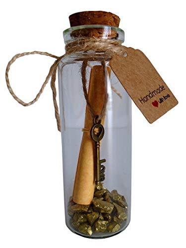 Little Jar of Big Ideas Petite Nachricht in Eine Flasche mit Love Key Anhänger & Gold Pebbles Aufmerksames Geschenk-Einzigartiges Geschenk-Handwerker Handgefertigt Geschenk -