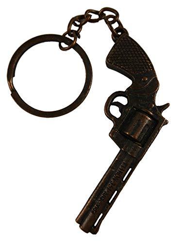 (Star Schlüsselanhänger/Anhänger / Taschenanhänger kupferfarben Waffe Revolver Wilder Westen Krieg 338)