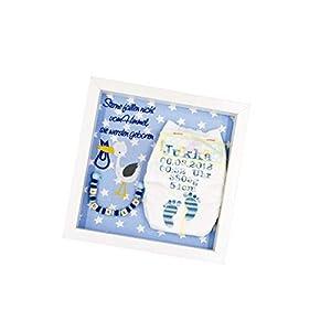 ♥ Windelrahmen bestickt mit Geburtsdaten des Kindes/Blau (Name/Geburtsgeschenk / Taufgeschenk/Windel im Rahmen) ♥