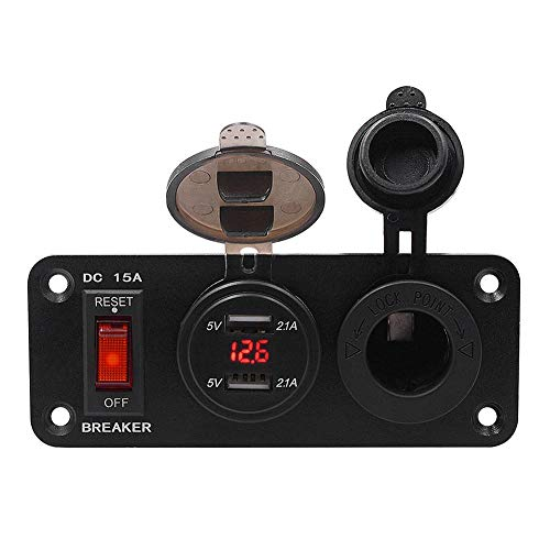 kaikki Auto Dual USB Buchse Ladegerät 12V Steckdose LED Voltmeter EIN-Aus Kippschalter Panel für Auto Boot Marine RV LKW Camper Fahrzeuge GPS Handys (Truck Camper Klemmen)