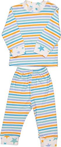 Baby Zweiteiliger Schlafanzug 3-12 Monate 100% Baumwolle Jungen Mädchen Pyjamas Set Langarm Nachtwäsche (Blau Streifen, 6-9 Monate) (Pyjama-3 Monate)