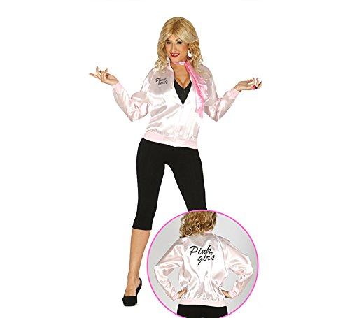 50er Jahre Jacke Pink Girls Rock n Roll für Damen M-L, Größe:L (Pink Ladies Jacke Grease)