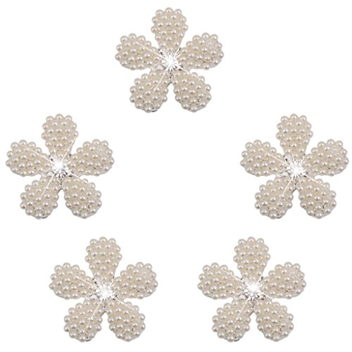 Phenovo Boton De La Flor De La Perla De Imitacion De Cristal Adorno Bricolaje 25mm 5pcs Amarillento
