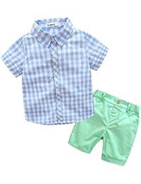 FCQNY 2 Unids Niños Camisas Pantalones Cortos Verano Conjunto Caramelo Ropa Traje A Cuadros
