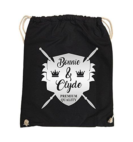 Borse Da Commedia - Bonnie & Clyde Knight - Motivo - Borsa Da Giro - 37x46cm - Colore: Nero / Rosa Nero / Argento