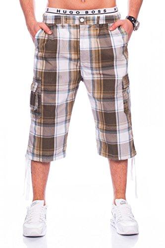 Casual Karo-muster (Herren Cargo-Shorts · Casual Fit · Knielange karierte Bermuda · Sommer Cargo Basic Short · Freizeit Capri · Kurze Hose · Walkshort mit Dehnbund · Karo-Muster · H1437 von Max Men)