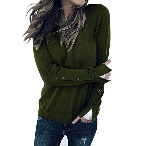 (Feitong Damen T-Shirt Womens Solid langärmel O-Hals Kausal Knopf Blusen Tops Shirts Tee Top(EU-42/CN-L, Armee grün))