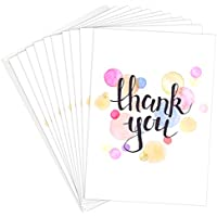 Thank you stationery office supplies amazon thank you cards a6 folding style with pretty watercolour pattern pack of 10 altavistaventures Image collections