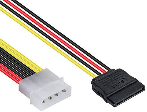 Poppstar 10 cm S-ATA 3 Strom-Adapter Y-Kabel (4-pin Molex Stecker auf 15-pin Sata Buchse), Stromkabel Splitter für Festplatte, Motherboard, PC Case Modding UVM. -