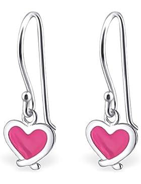 JAYARE Kinder-Ohrhänger Herz 925 Sterling Silber Emaille 19 x 8 mm rosa pink Ohrringe