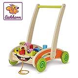 Eichhorn 100001833 Eikhoorn, speel- en looplerswagen - gedeeltelijk gemonteerd - met 35 kleurrijke houten bouwstenen - 39 x 26 x 48 cm