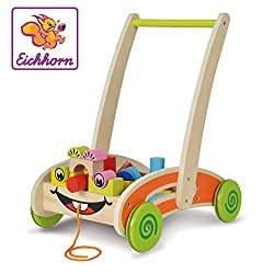 Eichhorn 100001833 - Eichhorn, play and walker - partially assembled - with 35 colorful wooden building blocks - 39 x 26 x 48 cm