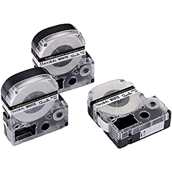 5x  BESCHRIFTUNGSBAND 12mm SCHWARZ-WEIß für EPSON LabelWorks LW-700