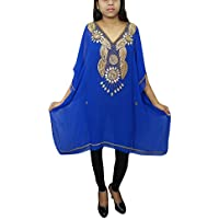 Women Short Caftan Tunic Blue Georgette Golden Sequin Work Kaftan Dress One Size