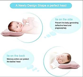 Baby-memory-schaumstoff-kissen, Romanstii Weich Waschbar Baumwolle Säuglinggs Kopf Unterstützung Verhindert Flachen Kopf Für 0-18 Monate Baby Neugeborene (10.24 '' X 8.76 '' X 1.38 '', Rosa) 3