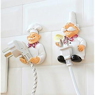UChic 2 STÜCKE Wandhaken Dekorative Kreative Niedlichen Cartoon Chef Power Kabel Stecker Gehäuse Kleiderbügel Haken Kreative Nette Starke Stock Haken