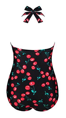 Angerella Vintage 50s Pin Up scollato Costume da bagno Costume intero Nero(Cherry)