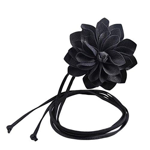 Malloom Moda Mujer leater elastico cinturon ancho cinturon de flores tridimensionales de Bohemia (negro)