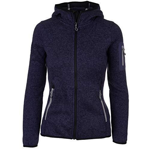 Strickfleecejacke Damen CMP Outdoor Fleecejacke dünn Sweatjacke mit Kapuze Strickjacke große Größen Kiara II, Farbe:Dark-Blue-Nero-grau, Größe:36