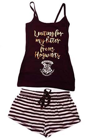 damen m dchen harry potter hogwarts schlafanzug set shorts und weste top mehrfarbig burgandy. Black Bedroom Furniture Sets. Home Design Ideas