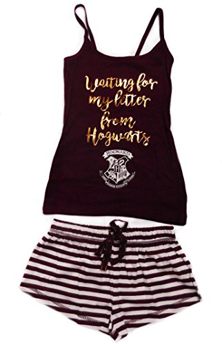 Harry Potter - Pigiama da donna (Shorts & Canottiera) Burgandy/White Large