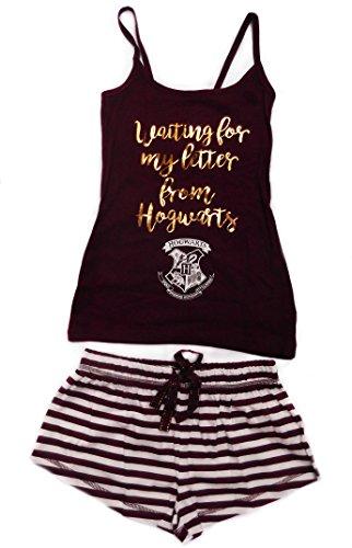 Harry Potter - Pigiama da donna (Shorts & Canottiera) Burgandy/White small