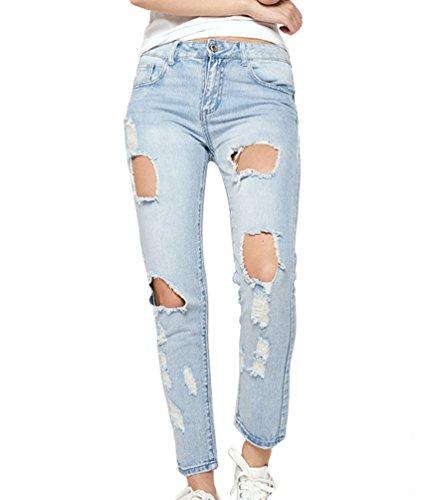 ZKOO Donna A Vita Alta Strappati Jeans Cotone Skinny Denim Pantaloni  Distrutti Jeans Lunghi Matita Pantaloni. Cotone tessuto elastico comodo da  indossare ...