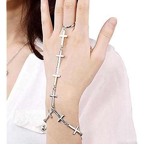 Dansuet Punk fascino trasversale del braccialetto di disegno Ring Set, Croce Bracciale Ring Set per la donna