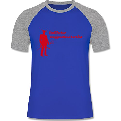 JGA Junggesellenabschied - Teuflischer Junggesellenabschied - zweifarbiges Baseballshirt für Männer Royalblau/Grau meliert