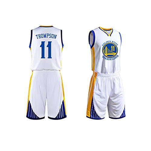 Klay Thompson # 11 Golden State Warriors Herren Basketball Trikot XS-XXXL, 90er Jahre Kleidung Throwback Kostüm Bekleidung Bekleidung Genäht - Top Bonus Combo Set mit Armbändern-White-XS