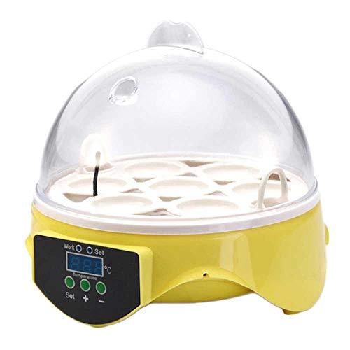 Tenlso incubatrice automatica 7 uova incubatrice di riscaldamento a temperatura costante intelligente per gallina anatre oche uccelli giallo