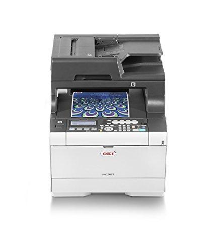 OKI MC563dn 4-in-1-Multifunktionsdrucker (Drucken, Scannen, Kopieren, Faxen, A4, 30 Seiten/Min.,  1.200x1.200 dpi, LAN, WLAN optional, Duplexdruck, ADF, max. 60.000 Seiten/Monat)