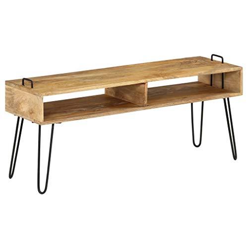 vidaXL Meuble TV Bois de Manguier Massif Salon Mobilier Armoire TV Table TV