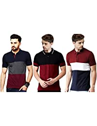 Leotude Men's Regular Fit Polo Multi Color T Shirt (Pack of 3)